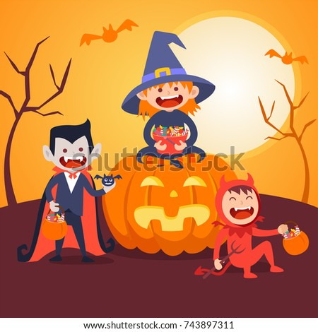 kids halloween vector set