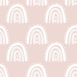 Kids hand drawn seamless pattern with pink pastel rainbows. Summer background. Vector illustration for baby design. Scandinavian style.