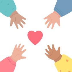 Kids hands reach out for heart and to each other. Charity, child care, community support and volunteer donation concept. Vector illustration, cartoon style