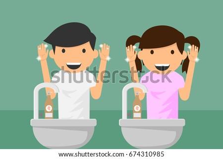 kids hands washing vector