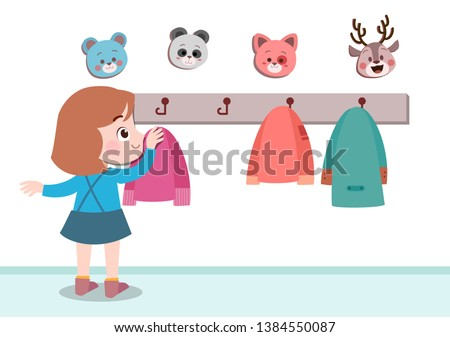 kids hanging jacket vector illustration isolated Foto d'archivio ©