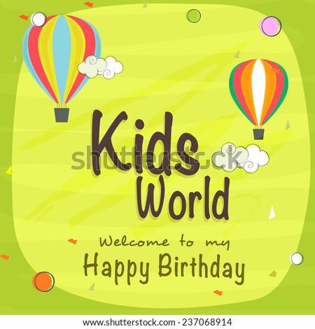 stock-vector-kids-happy-birthday-celebration-invitation-card-design-with-beautiful-decoration