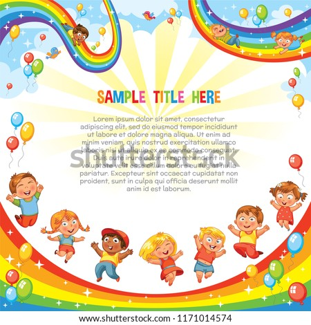 Kids have fun jumping on a rainbow, like on a trampoline. Children slide down on a rainbow. Roller coaster ride. Template is ready for advertising of children's Entertainment center or Amusement park