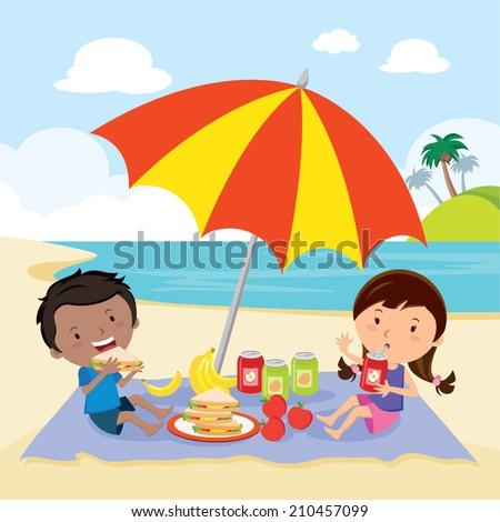 Kids having picnic. Children enjoying a picnic in the summer.