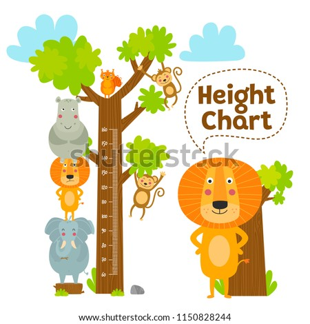 Kids height chart. Celebrate the growth of children. The child grows. African animals vector illustration.