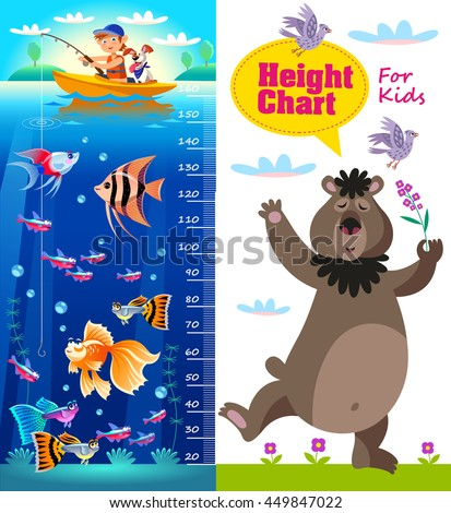 Kids height chart. Vector illustration in cartoon style with cartoon fishes and bear.