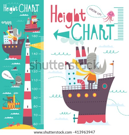 Kids height chart. Vector isolated illustration of cartoon transport and animals on a green-blue background. Foto stock ©