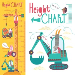 Kids height chart. Vector isolated illustration of cartoon transport and animals on a yellow background.