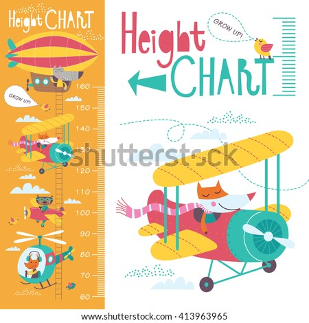 Kids height chart. Vector isolated illustration of cartoon transport and animals on an orange background.