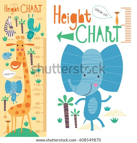 Kids height chart. Vector isolated illustration with cute African animals.