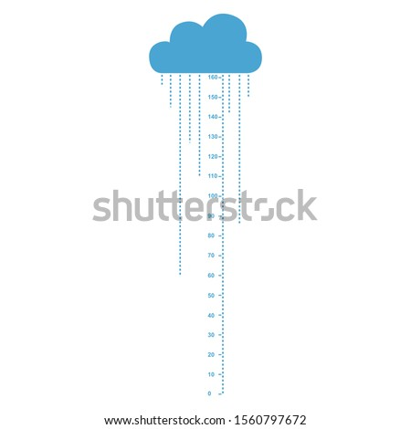 Kids height ruler with a cloud and a rain for wall decals, wall stickers - Vector