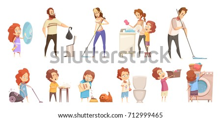 Kids helping parents with household chores retro cartoon icons banners set with washing dishes isolated vector illustration