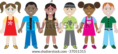 Kids holding hands 1 vector of six kids from around the world holding