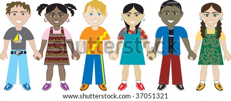 Kids Holding hands 3. Vector of Six Kids from around the world holding hands in unity. Diversity - stock vector