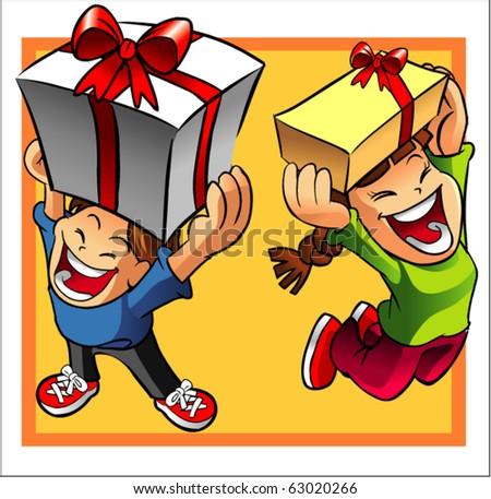 kids holding present