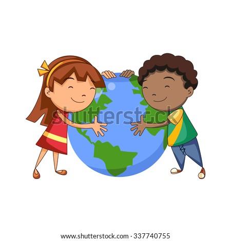 kids hugging planet  vector