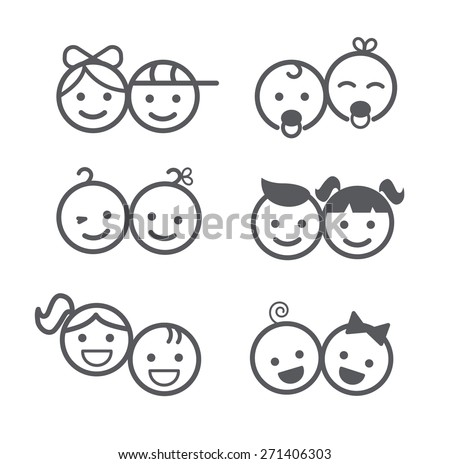 Kids icons set, boys and girls, children symbols, vector illustration - Shutterstock ID 271406303