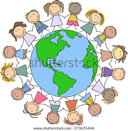 Royalty Free Kids World Children On Globe Drawing 277842548