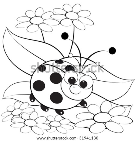 Kids Colorings Pages on Kids Illustration With Ladybug And Daisy   Coloring Page   31941130