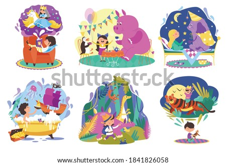 Kids imagination, fantasy world cartoon vector illustrations set. Children and cute monsters. Little boy, girls imagine magical fairytale creatures, riding dragon. Magical dreams, imaginable animals.