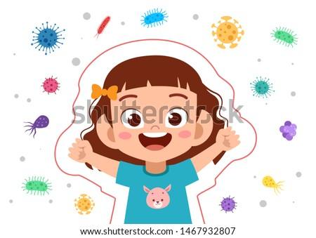 kids immune protection system vector illustration