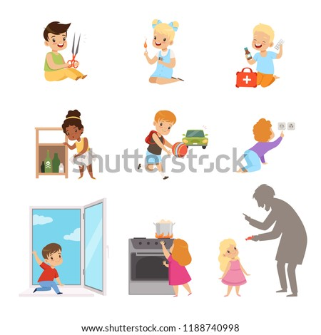 Kids in a dangerous situations set, children playing with matches, medicines, sharp objects, electricity, strangers vector Illustration on a white background