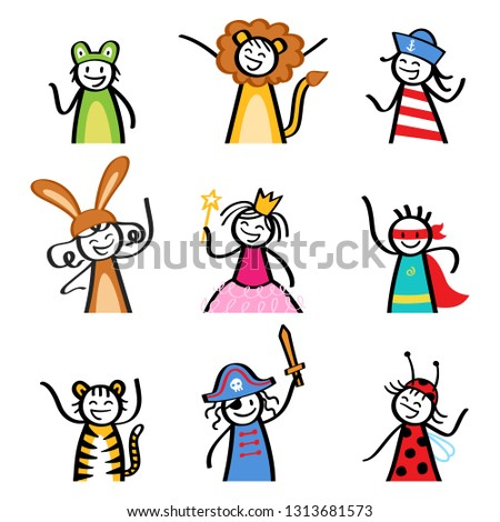 Kids in costumes, set  of stick figure children dressing up for Halloween, carnival, costume party