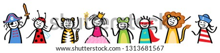 Kids in costumes, stick figure children dressed up for Halloween, carnival, costume party, banner