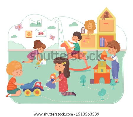 Kids in daycare center flat vector illustration. Happy children playing together cartoon characters. Primary school, elementary grade pupils. Playschool pastime, leisure, kindergarten playtime