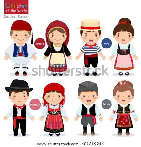 Kids in different traditional costumes (Greece, Italy, Portugal, Serbia) ストックフォト ©