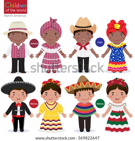 Shutterstock Kids in different traditional costumes (Jamaica, Cuba, Mexico)