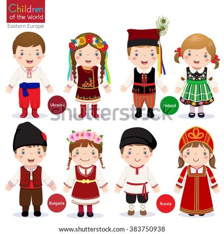 Kids in different traditional costumes (Ukraine, Poland, Bulgaria, Russia) ストックフォト ©
