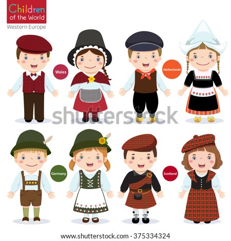 Kids in different traditional costumes (Wales, Netherlands, Germany,  Scotland) ストックフォト ©