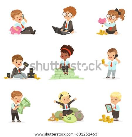 kids in financial business set