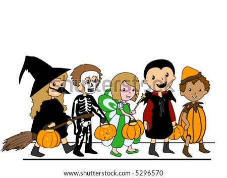 Kids in Halloween Costumes - Vector