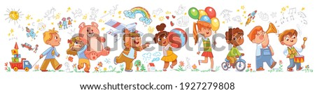 Kids in kindergarten play with their favorite toys against the background of the wall with children drawings. Long banner. Funny cartoon characters. Vector illustration. Isolated on white background