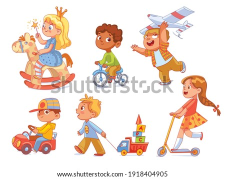 Kids in kindergarten play with their favorite toys. Children ride a wooden rocking horse, rides a tricycle, plays with an airplane and a toy car. Funny cartoon character. Vector illustration. Isolated