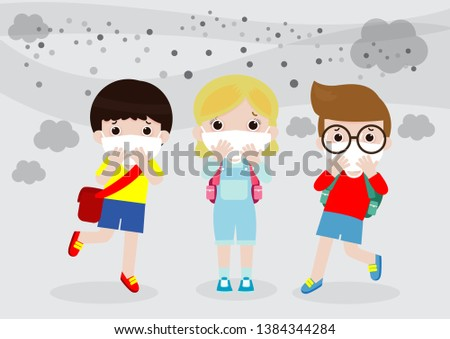 kids in masks because of fine dust, boy and girl wearing mask against smog. Fine dust, air pollution, industrial smog protection concept flat style design vector illustration.