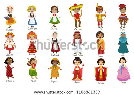 Kids In National Costumes Set