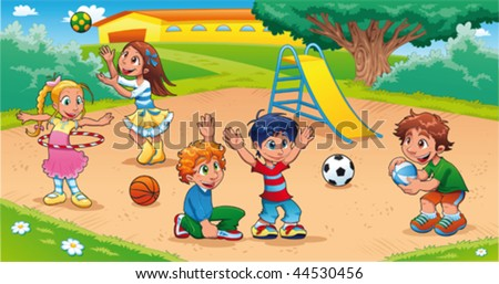 Kids in the playground Funny cartoon and vector scene.
