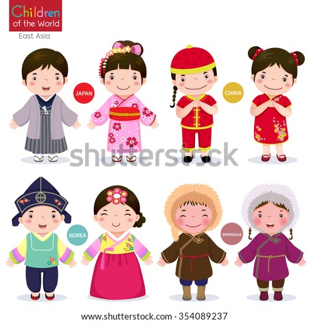 Kids in traditional costume; Japan, China, Korea and Mongolia ストックフォト ©