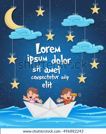 kids inside a paper boat at