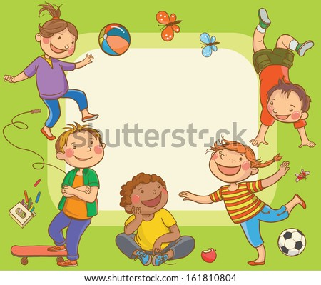 Kids jumping around placard Children Sport isolated objects on green background Great illustration for a school books and more VECTOR Editorial Education Advertising Board