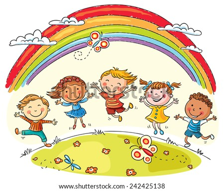 Kids jumping with joy on a hill under rainbow colorful cartoon