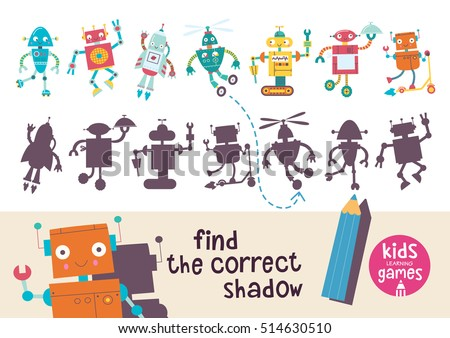 Kids learning game. Find the correct shadow.