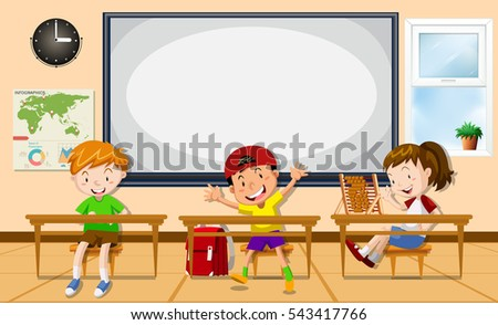 Kids learning in the classroom illustration