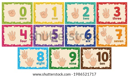 Kids Learning Numbers Flashcards. Finger counting. Zero to Ten. Vector illustration. Foto stock ©