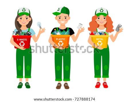 Kids learning recycle trash vector illustration. Waste recycling volunteers boy and girls