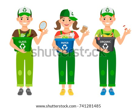 Kids learning recycling trash, vector icons on white background