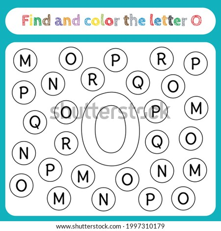 Kids learning worksheet, find and color letters. Educational game for pre-school children's activities, learn to recognize the alphabet. Simple flat vector EPS 10. Editable, printable. Letter O. Foto stock ©